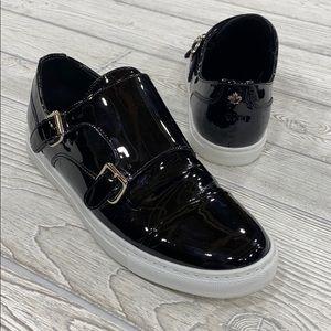 DSQUARED2 Black Patent Tux Monk Strap Sneakers